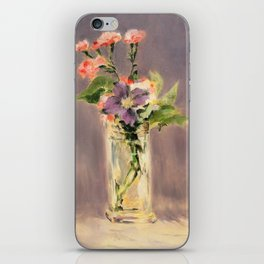 Pinks and clematis in a crystal vase iPhone Skin
