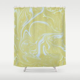Lemon yellow pastel blue marbled swirls trendy abstract pattern Shower Curtain