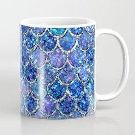 Sparkly Shades of Blue & Silver Glitter Mermaid Scales Coffee Mug