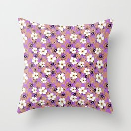 White and coral flowers Throw Pillow