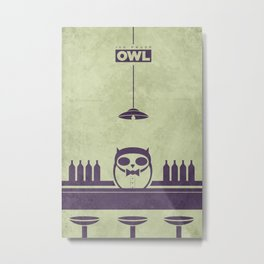 Top Shelf Owl Minimal Poster Metal Print