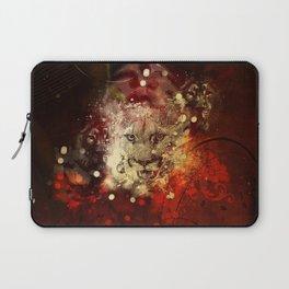 Awesome lion on vintage background Laptop Sleeve