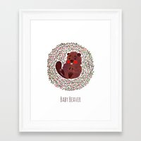 beaver Framed Art Prints featuring Baby Beaver by haidishabrina