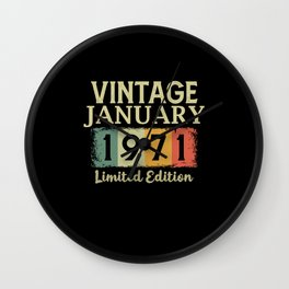 Vintage January 1971 Birthday Limited Edition Gift Wall Clock