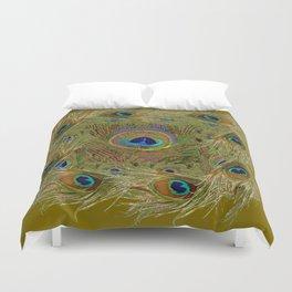 Avocado Color Peacock Feathers Art Design Duvet Cover
