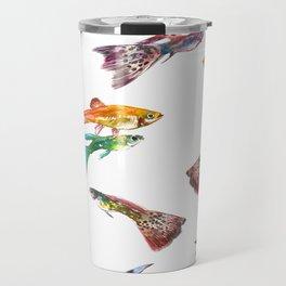 Tropical Colors, Guppy Aquarium Fish , Aquarium Art Underwater Travel Mug
