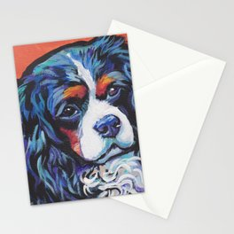 Fun Cavalier King Charles Spaniel Dog bright colorful Pop Art by LEA Stationery Cards