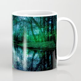 Enchanted Forest Lake Green Blue Coffee Mug