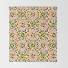 Heraldic Pink Polka Dots Throw Blanket