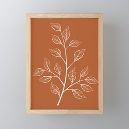 Delicate White Leaves and Branch on a Rust Orange Background Framed Mini Art Print