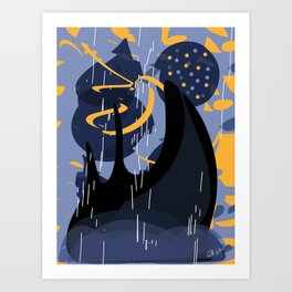 Fantasy Castle in an Abstract Landscape Purple and Yellow Art Print