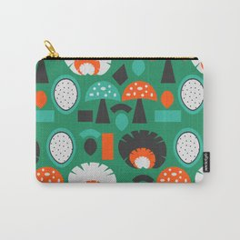 Funny mushrooms in green Carry-All Pouch