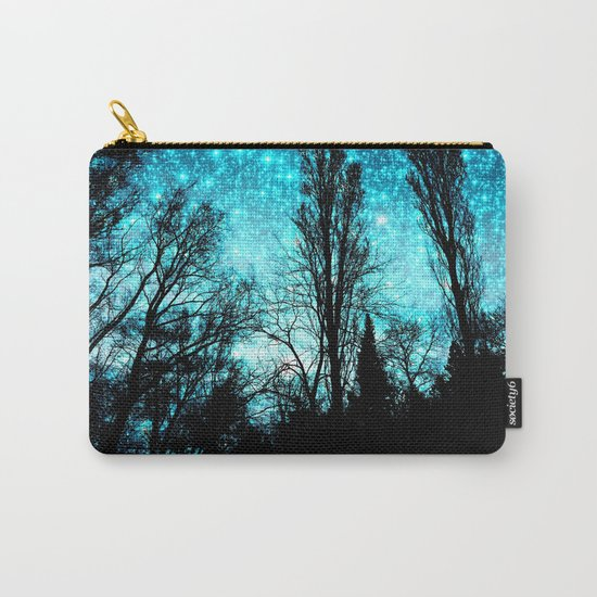 black trees teal space Carry-All Pouch