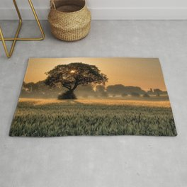 Lonely Tree In Cornfield At Sunset Ultra HD Rug