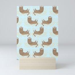 Otter Blue Pattern Mini Art Print