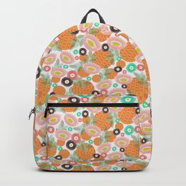 Geometric Oranges and Abstract Flowers Backpack