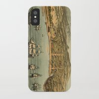 san francisco map iPhone & iPod Cases featuring Vintage Pictorial Map of San Francisco (1884)  by BravuraMedia