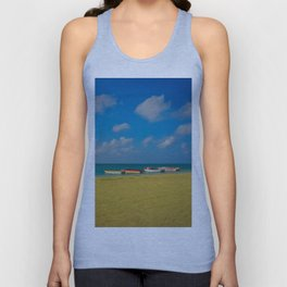 Colorful Boats Adorn the Tranquil Beach Unisex Tank Top