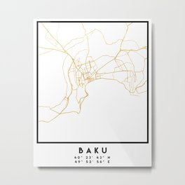 BAKU AZERBAIJAN CITY STREET MAP ART Metal Print