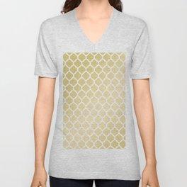 Elegant faux gold white moroccan quatrefoil pattern Unisex V-Neck