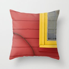Bright Yellow and Coral Building Exterior Throw Pillow