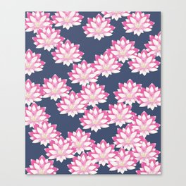 Lotus pattern on dark blue Canvas Print