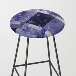 Lotus flower blue stitched patchwork - woodblock print style pattern Bar Stool