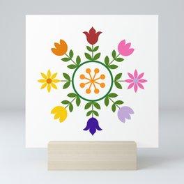 Scandinavian Style Colorful Flowers Wheel Mini Art Print