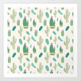 Ivory pastel blush green pink cactus floral Art Print