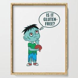 Funny Gluten Free Zombie Brains Halloween design Serving Tray