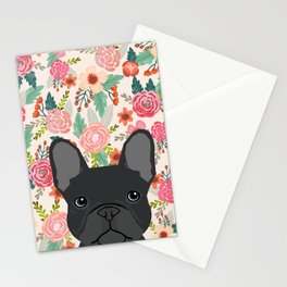 French Bulldog florals dog portrait pet art dog breeds custom frenchie gifts Stationery Cards