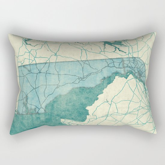 Delaware State Map Blue Vintage Rectangular Pillow