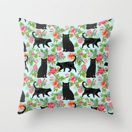 Black cat hawaiian cat breeds cat lover pattern art print cat lady must have Throw Pillow