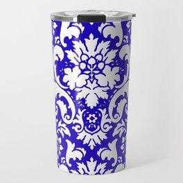 Paisley Damask Blue and White Travel Mug