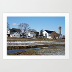 Lancaster Farm Houses and Silo Art Print