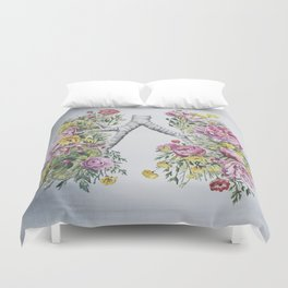 Floral Anatomy Lungs Duvet Cover