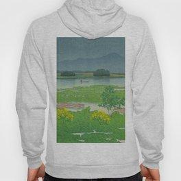 Kawase Hasui Vintage Japanese Woodblock Print Flooded Asian Rice Field Mountain Parallax Landscape Hoody
