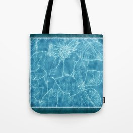 Mixed Color Poinsettias 2 Outlined Blue Tote Bag