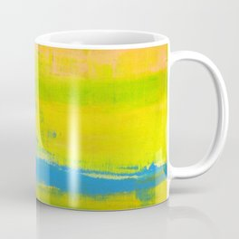 'A Sunny Day' Yellow Coral Blue Abstract Art Coffee Mug