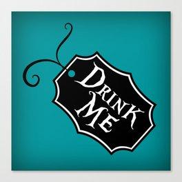 """Drink Me"" Alice in Wonderland styled Bottle Tag Design in 'Alice Blue' Canvas Print"