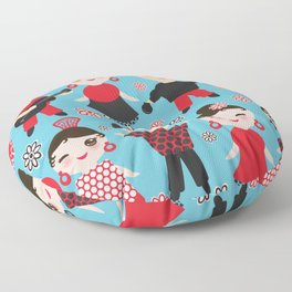 Seamless pattern spanish flamenco dancer. Kawaii cute face with pink cheeks and winking eyes. Floor Pillow