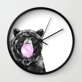 Bubble Gum Big Bear Black and White Wall Clock