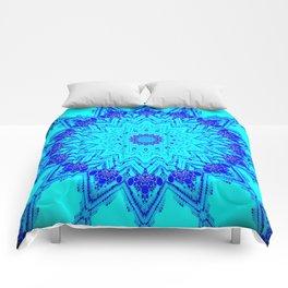 Bright blue turquoise Mandala Design Comforters