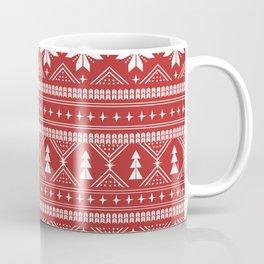 Fair Isle christmas pattern snowflakes camping winter trees christmas tree minimal Coffee Mug