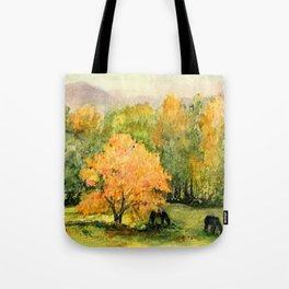 Autumn Landscape Horses Under Maples Tote Bag