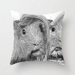 guinea pig couple vector art black white Throw Pillow