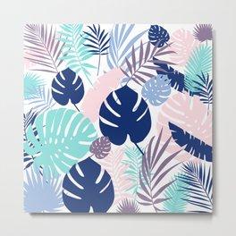 Tropical Leaves Blue Purple Metal Print