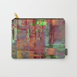 Overexposed - Abstract, textured painting in brown, orange and green Carry-All Pouch