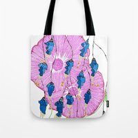 hibiscus Tote Bags featuring Hibiscus by Gosia&Helena