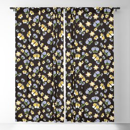 Crisscross Butterflies V.02 - Dark Charcoal Color Blackout Curtain